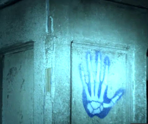 Abandoned house blue hand